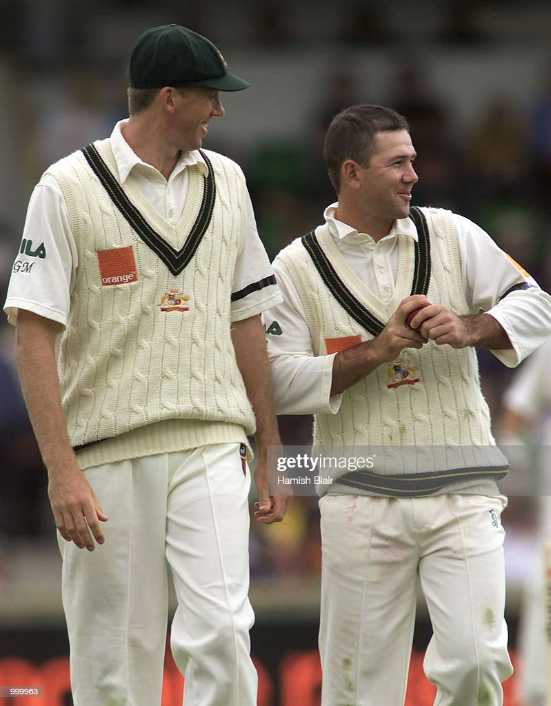Glenn McGrath of Australia shares a joke with team mate a part time bowler Ricky Ponting during day one of the Third Test between Australia and New Zealand played at The WACA, Perth, Australia. DIGITAL IMAGE. Mandatory Credit: Hamish Blair/ALLSPORT