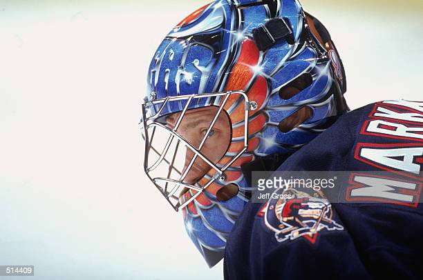 Goaltender Jussi Markkanen of the Edmonton Oilers looks on against the Los Angeles Kings during the NHL game at the Staples Center in Los Angeles,...