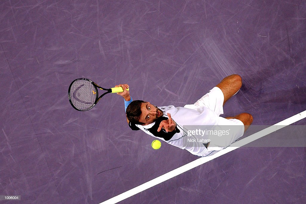 Goran Ivanisevic of Croatia in action during his match against Juan Carlos Ferrero of Spain during the Tennis Masters Cup held at the Sydney Superdome, Sydney, Australia. DIGITAL IMAGE Mandatory Credit: Nick Laham/ALLSPORT