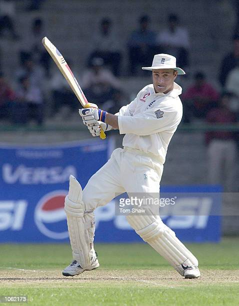 Graham Thorpe of England hits out during the Indian Board XI v England at the Lal Bahadur Stadium Hyderabad India DIGITAL IMAGE Mandatory Credit Tom...