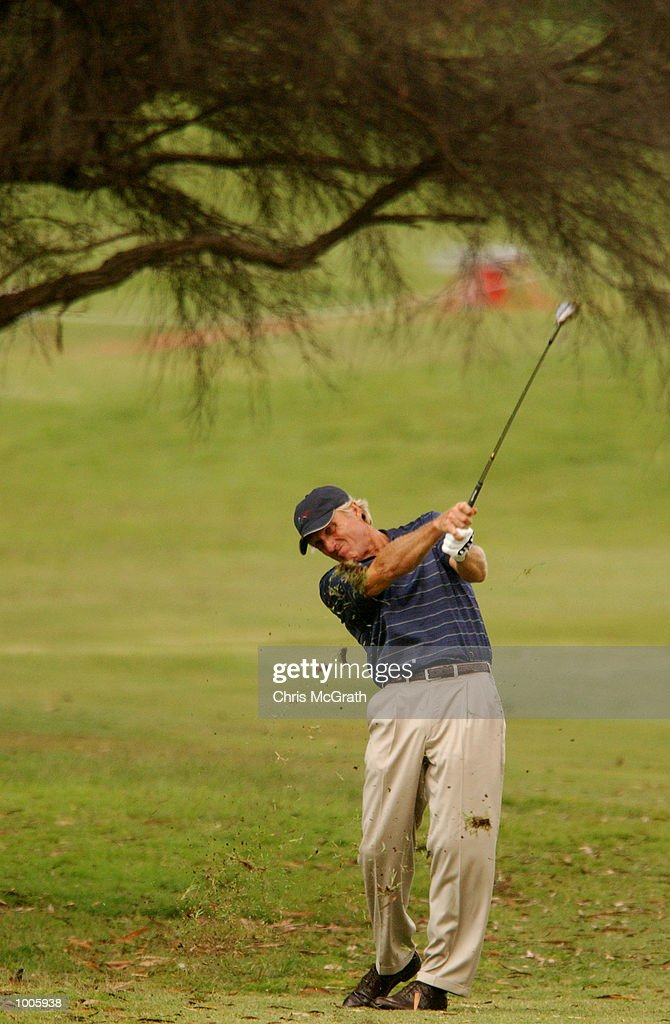 Greg Norman of Australia in action during the second round of the Australian PGA Championships being played at Royal Queensland Golf Club, Brisbane, Australia. DIGITAL IMAGE Mandatory Credit: Chris McGrath/ALLSPORT