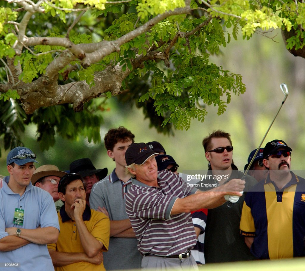 Greg Norman of Australia plays his second shot on the 5th fairway during the first round of the Australian PGA Championship being played at Royal Queensland Golf Club in Brisbane, Australia. He finished his round at 4 under par. DIGITAL IMAGE. Mandatory Credit: Darren England/ALLSPORT