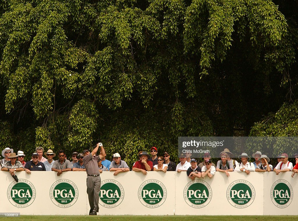 Greg Norman of Australia tees off on the 2nd hole during the first round of the Australian PGA Championships being played at Royal Queensland Golf Club, Brisbane, Australia. DIGITAL IMAGE Mandatory Credit: Chris McGrath/ALLSPORT