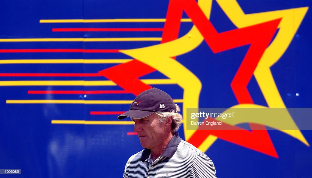 Greg Norman of Australia tees walks onto the 18th tee during the third round of the Australian PGA Championship being played at Royal Queensland Golf Club in Brisbane, Australia. He finished the day at 3 under par. DIGITAL IMAGE. Mandatory Credit: Darren England/ALLSPORT