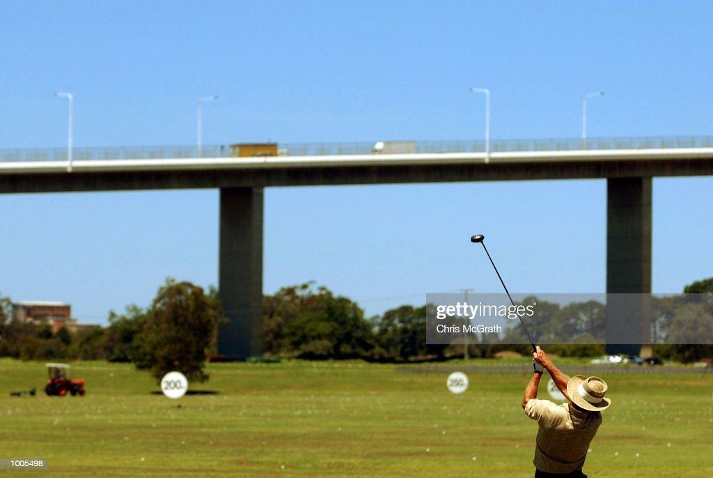 Greg Norman practices on the driving range prior to the Australian PGA Championship Tournament held at the Royal Queensland Golf Course, Brisbane, Australia. DIGITAL IMAGE Mandatory Credit: Chris McGrath/ALLSPORT