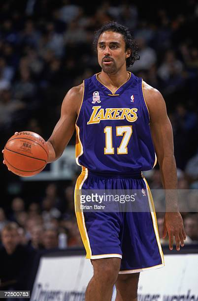 e59fc2ddb0e Guard Rick Fox of the Los Angeles Lakers dribbles the ball during the NBA  game against