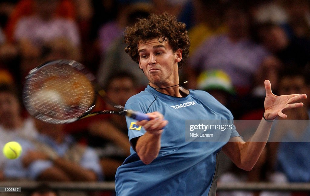 Gustavo Kuerten of Brazil in action during his match against Juan Carlos Ferrero of Spain during the Tennis Masters Cup held at the Sydney Superdome, Sydney, Australia. DIGITAL IMAGE Mandatory Credit: Nick Laham/ALLSPORT