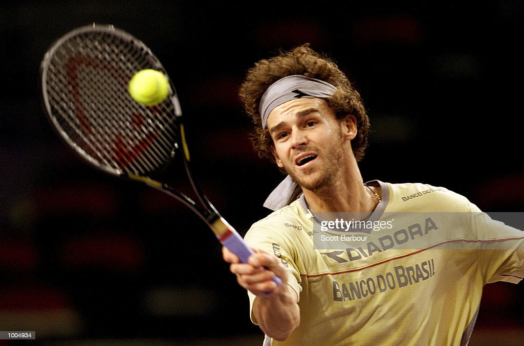 Gustavo Kuerten of Brazil in action during training in preparation for the Tennis Masters Cup held at the Sydney Superdome in Sydney, Australia. DIGITAL IMAGE. Mandatory Credit: Scott Barbour/ALLSPORT