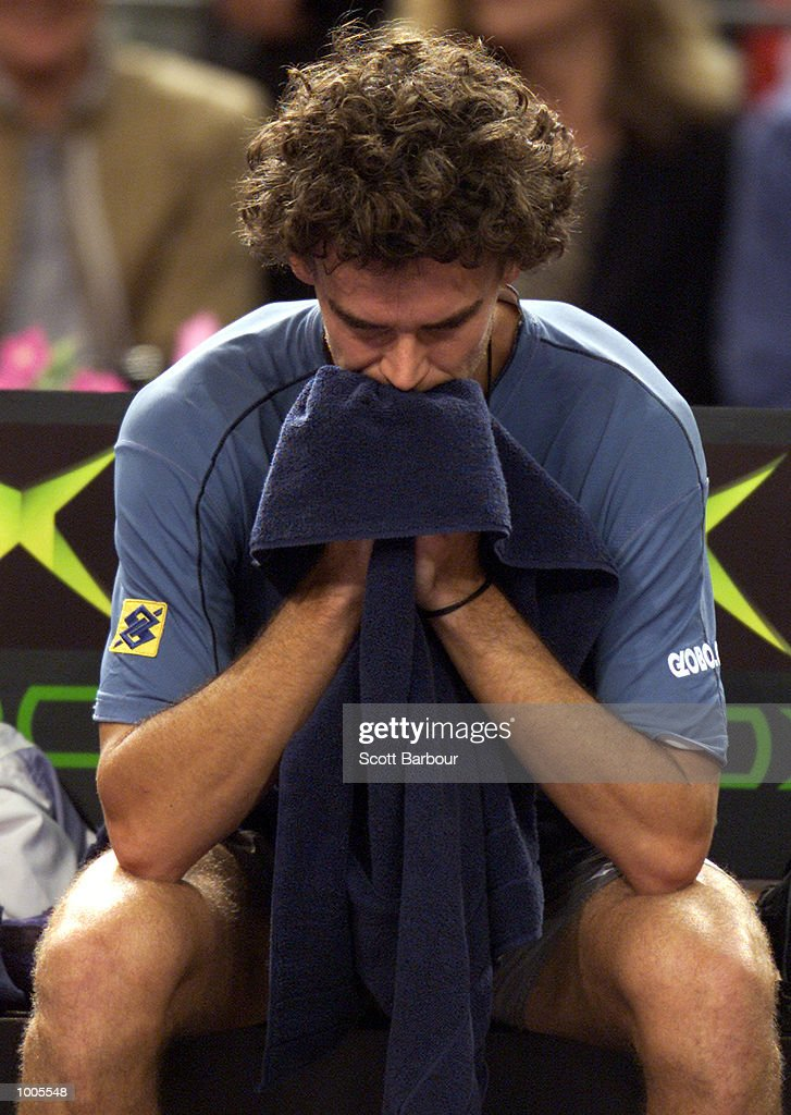 Gustavo Kuerten of Brazil is dejected whilst losing his match against Goran Ivanisevic of Croatia during day two of the Tennis Masters Cup held at the Sydney Superdome in Sydney, Australia. DIGITAL IMAGE. Mandatory Credit: Scott Barbour/ALLSPORT
