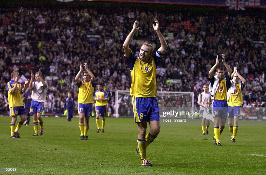 Hakan Mild of Sweden leads the applause after the England v Sweden International friendly at Old Trafford, Manchester. Mandatory Credit: Ross Kinnaird/ALLSPORT