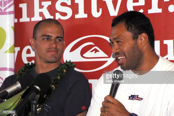 Haleiwa North Shore Oahu Hawaii Six times Association of Surfing Professionals world champion Kelly Slater smiles at current ASP world champion Sunny...