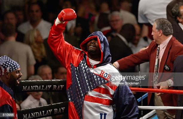 Hasim Rahman sparks the crowd as he enters the ring before the WBC/IBF World Heavyweight Championship fight against Lennox Lewis at the Mandalay Bay...