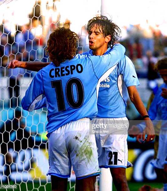 Hernan Crespo and Simone Inzaghi of Lazio celebrate a goal during the Serie A match between Lazio and Brescia played at the Olympic Stadium Rome...