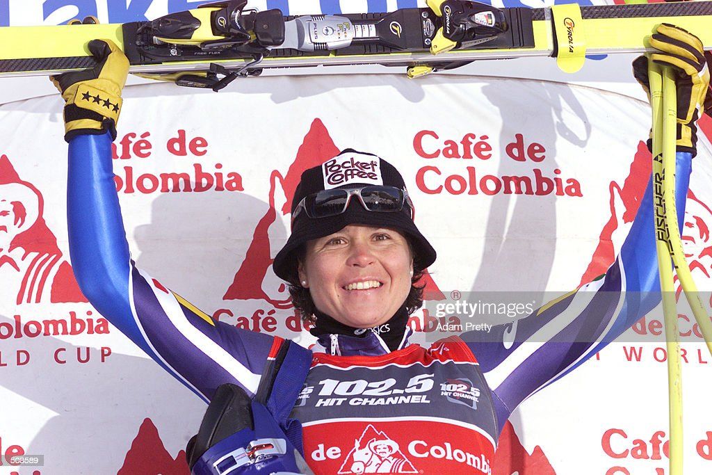 Isolde Kostner of Italy celebrates her win of the Womens Downhill of the 2001 Ski World Cup at Lake Louise, Canada . DIGITAL IMAGE. Mandatory Credit: Adam Pretty/Allsport