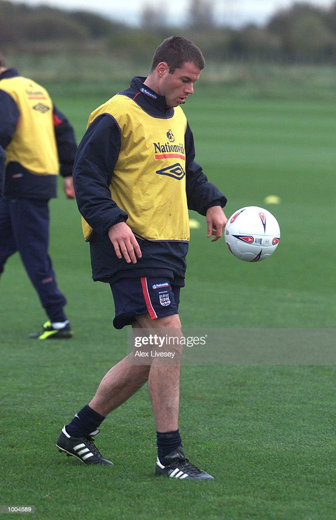 Jamie Carragher in action during today's England training session at the Carrington training ground in Carrington, Manchester. DIGITAL IMAGE. Mandatory Credit: Alex Livesey/ALLSPORT