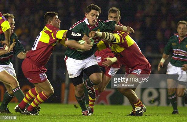 Jamie Hamilton of Leicester bursts through the Perpignan defence during the Leicester Tigers v Peppignan Heineken Cup match at Welford Road Leicester...