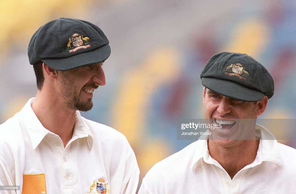 Jason Gillespie of Australia jests with teammate Matthew Hayden during a team photo session, held at the Gabba, Brisbane, Australia. DIGITAL IMAGE. Mandatory Credit: Jonathan Wood/ALLSPORT