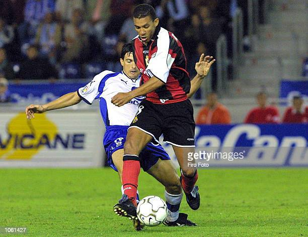 Javi Venta of Tenerife and Djalminha of Deportivo during the Spanish Primera Liga match played between Tenerife and Deportivo La Coruna played at the...