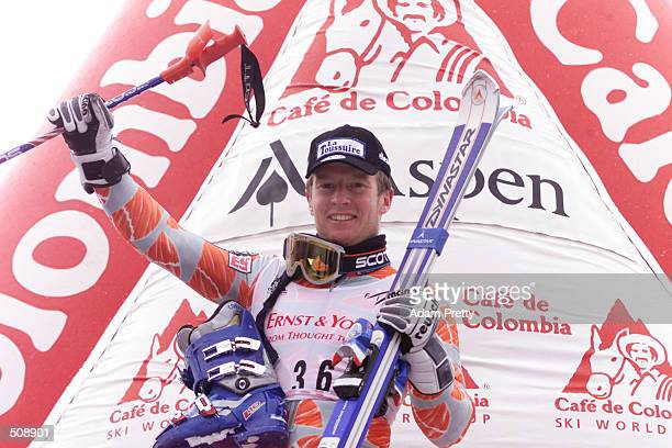 JeanPierre Vidal of France celebrates in third place after the 2nd Mens Slalom at the 2001 Ski World Cup in Aspen Colorado DIGITAL IMAGE Mandatory...