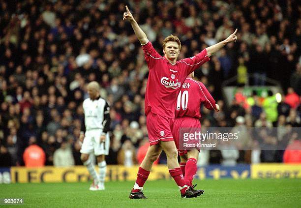John Arne Riise of Liverpool celebrates his goal during the FA Barclaycard Premiership match between Liverpool and Manchester United played at...