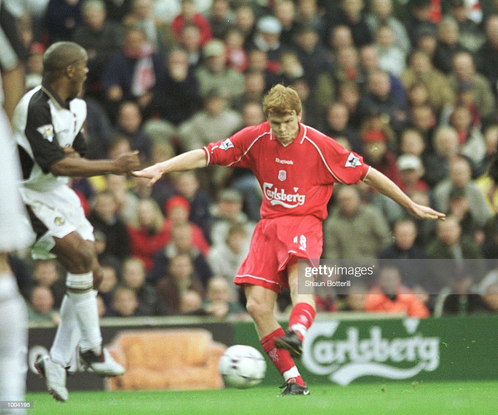 John Arne Riise of Liverpool scores from a free kick during the FA Barclaycard Premiership game between Liverpool and Manchester United at Anfield, Liverpool. Mandatory Credit: Shaun Botterill/ALLSPORT