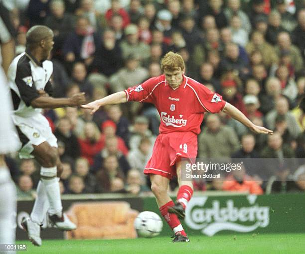 John Arne Riise of Liverpool scores from a free kick during the FA Barclaycard Premiership game between Liverpool and Manchester United at Anfield...