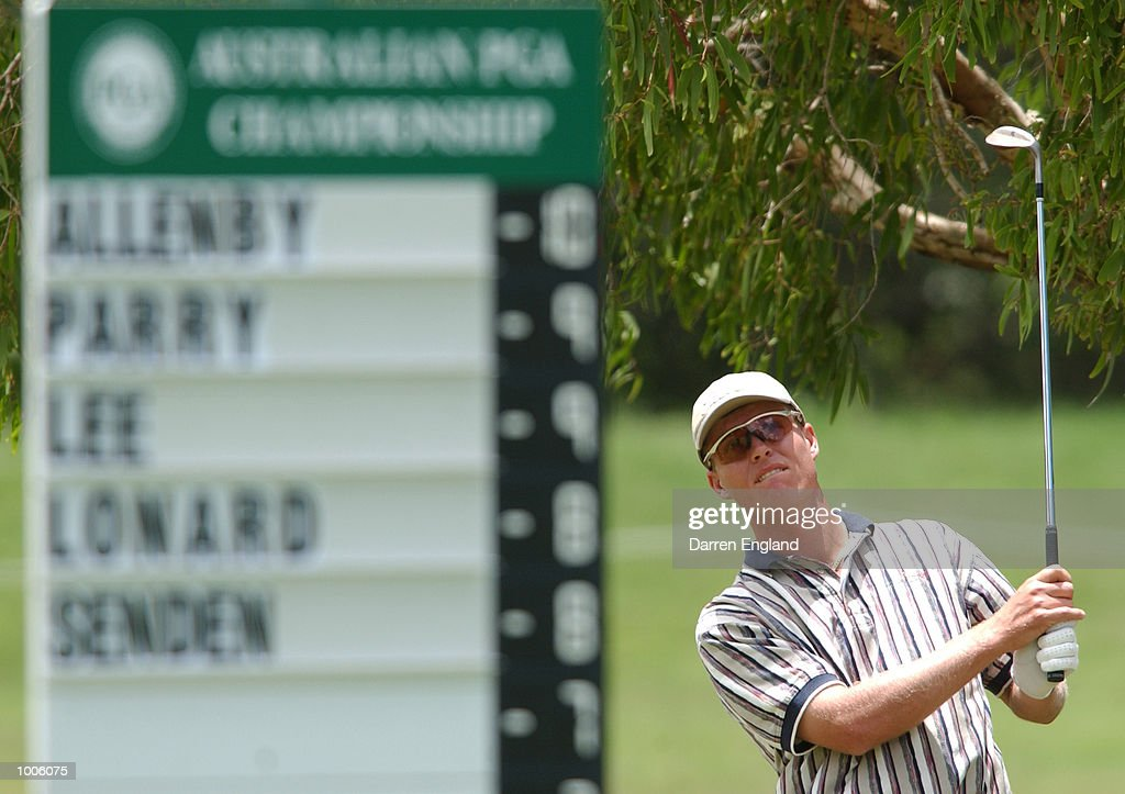 John Senden of Australia chips from the rough onto the 1st green during the third round of the Australian PGA Championship being played at Royal Queensland Golf Club in Brisbane, Australia. DIGITAL IMAGE. Mandatory Credit: Darren England/ALLSPORT