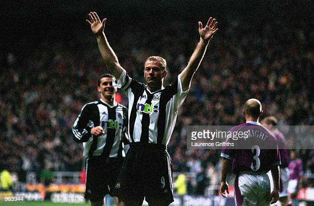 Joy for Captain Alan Shearer of Newcastle after scoring the first goal during the FA Barclaycard Premiership match between Newcastle United and Aston...