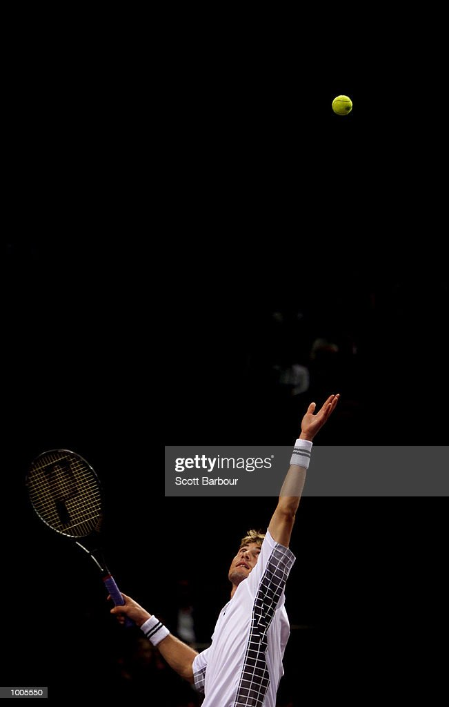 Juan Carlos Ferrero of Spain in action during his match against Yevgeny Kafelnikov of Russia during day two of the Tennis Masters Cup held at the Sydney Superdome in Sydney, Australia. DIGITAL IMAGE. Mandatory Credit: Scott Barbour/ALLSPORT