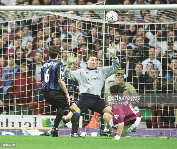Juan Pablo Angel of Villa shot hits the bar during the FA Barclaycard Premiership match between Aston Villa and Middlesbrough at Villa Park...