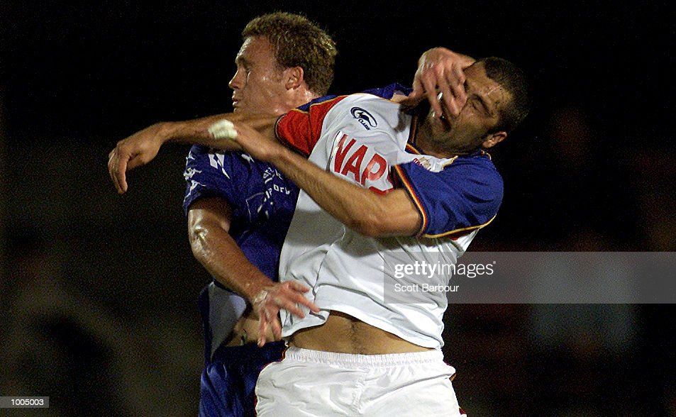 Julian Watts #2 of Northern Spirit and a South Melbourne player have an off the ball tussle during the round 6 NSL match between Northern Spirit and South Melbourne played at North Sydney Oval in Sydney, Australia. Northern Spirit defeated South Melbourne 1-0. DIGITAL IMAGE. Mandatory Credit: Scott Barbour/ALLSPORT