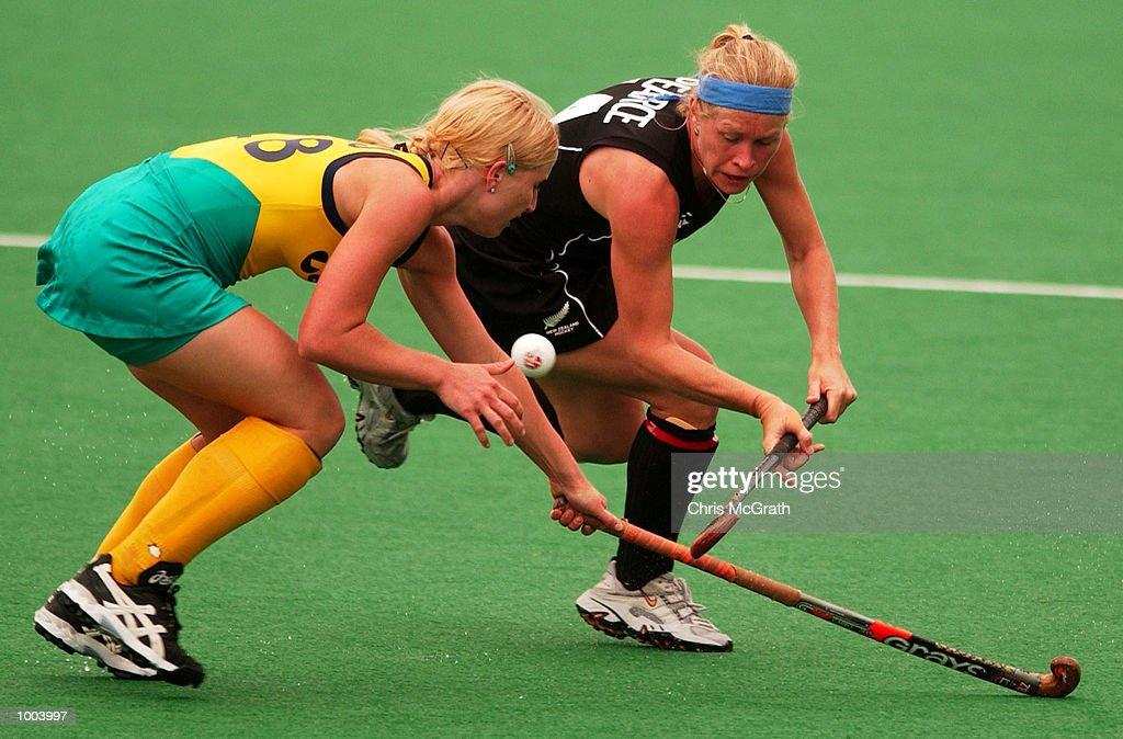 Julie Towers #28 of Australia defends against Suzie Pearce #14 of New Zealand during the third hockey test match between the Australian Hockeyroos and the New Zealand Black Sticks held at the Sydney Hockey Centre, Homebush Bay, Sydney, Australia. DIGITAL IMAGE Mandatory Credit: Chris McGrath/ALLSPORT