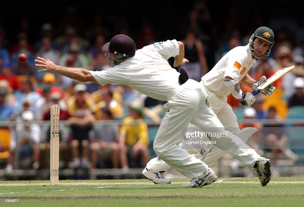 Justin Langer of Australia hits four runs past Mark Richardson of New Zealand during day one of the first Cricket test between Australia and New Zealand played at the Gabba in Brisbane, Australia. DIGITAL IMAGE. Mandatory Credit: Darren England/ALLSPORT