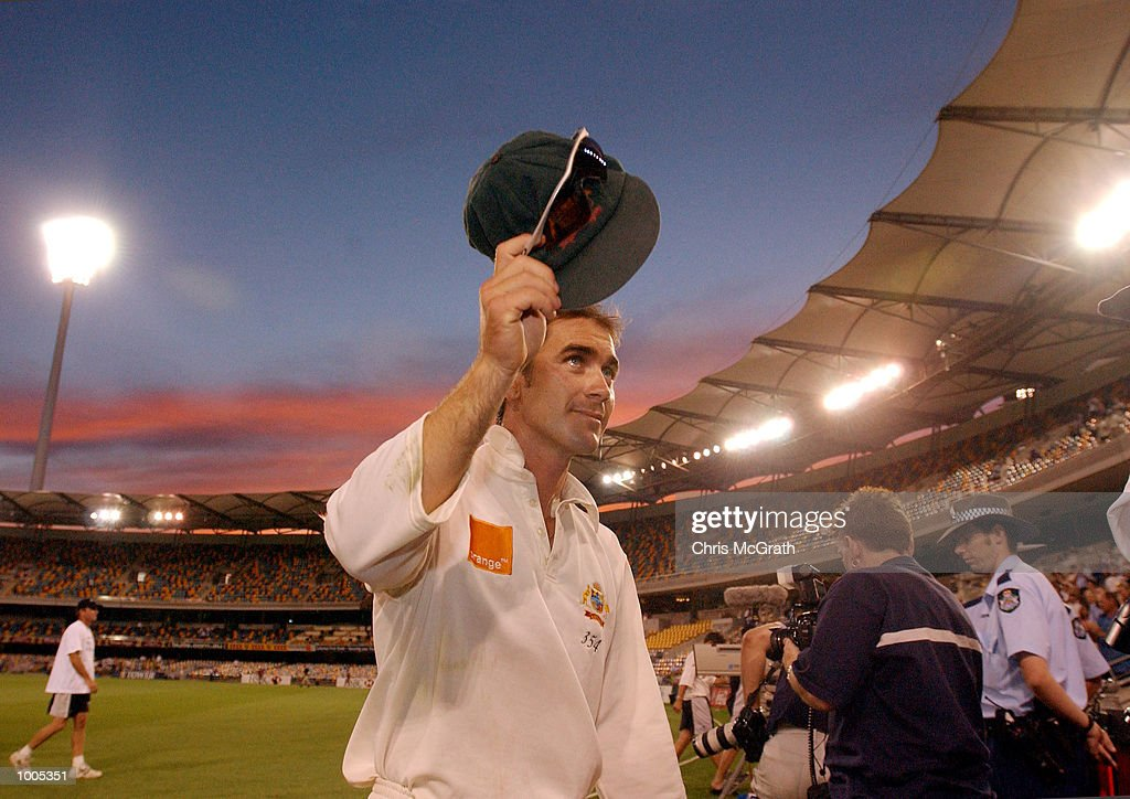 Justin Langer of Australia salutes the crowd after the first test finished in a draw during day five of the first cricket test between Australia and New Zealand held at the Gabba, Brisbane, Australia, DIGITAL IMAGE Mandatory Credit: ChrisMcGrath/ALLSPORT