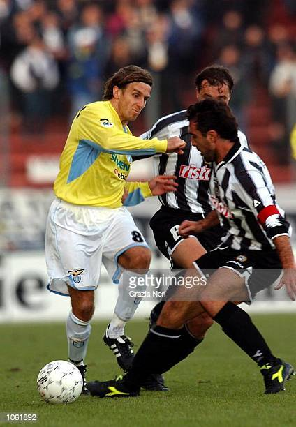 Karel Poborsky of Lazio and Luis Helguera of Udinese in action during the Serie A match between Udinese and Lazio played at the Friuli Stadium Udine...