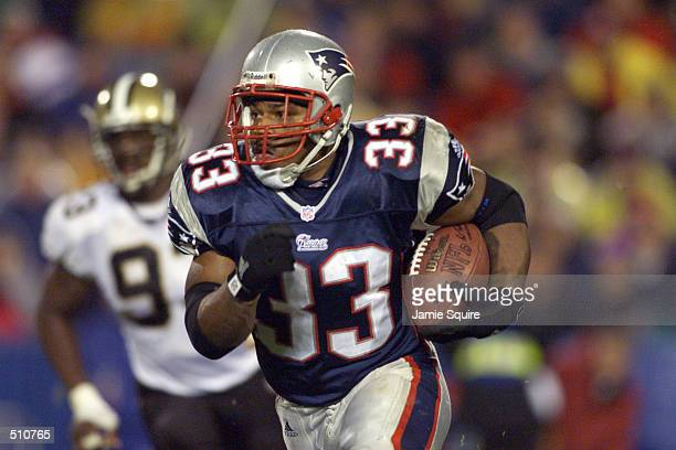 Kevin Faulk of the New England Patriots heads downfield against the New Orleans Saints during the game at Foxboro Stadium in Foxboro Massachusettes...