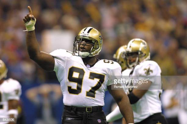 La''Roi Glover of the New Orleans Saints reacts during the game against the New York Jets at Lousiana Superdome in New Orleans Louisiana The Jets...