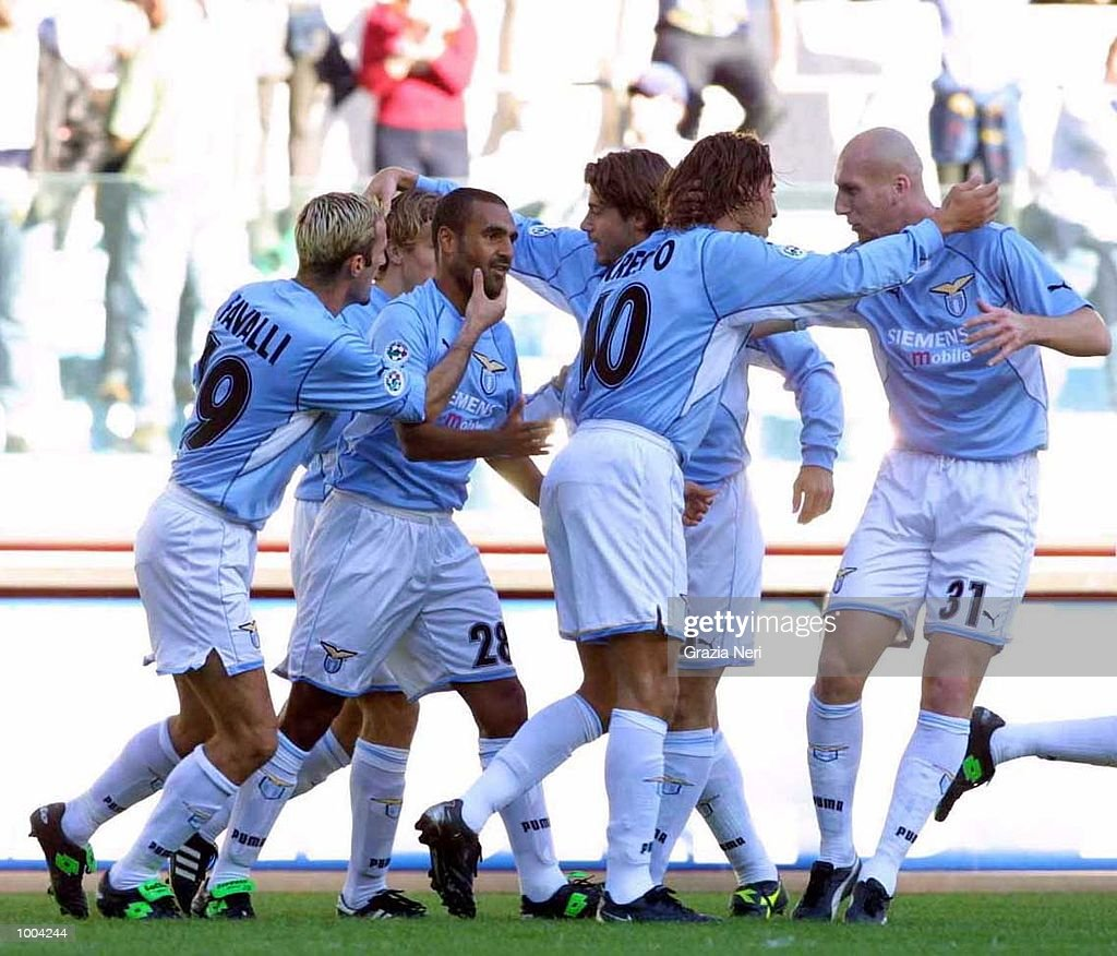Lazio players celebrate a goal during the Serie A match between Lazio and Brescia, played at the Olympic Stadium, Rome. DIGITAL IMAGE Mandatory Credit: Grazia Neri/ALLSPORT