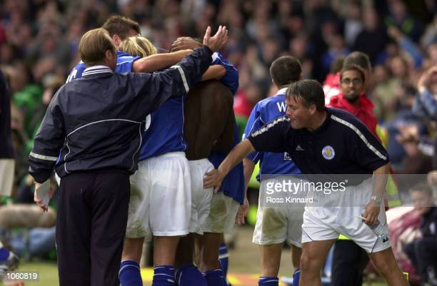 Leicester Manager Dave Bassett and his assistant Micky Adams celebrates with Ade Akinbiyi after his goal in the Leicester City v Sunderland...