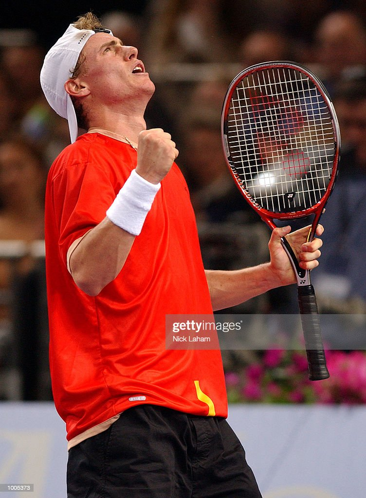 Lleyton Hewitt of Australia celebrates a point during his match against Sebastien Grosjean of France during the Tennis Masters Cup held at the Sydney Superdome, Sydney, Australia. DIGITAL IMAGE Mandatory Credit: Nick Laham/ALLSPORT