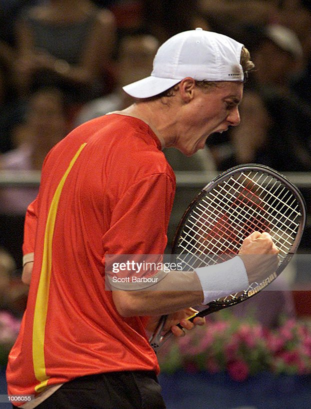 Lleyton Hewitt of Australia celebrates whilst defeating Patrick Rafter of Australia to become the new number one ranked player during pool play of the Tennis Masters Cup held at the Sydney Superdome in Sydney, Australia. DIGITAL IMAGE. Mandatory Credit: Scott Barbour/ALLSPORT