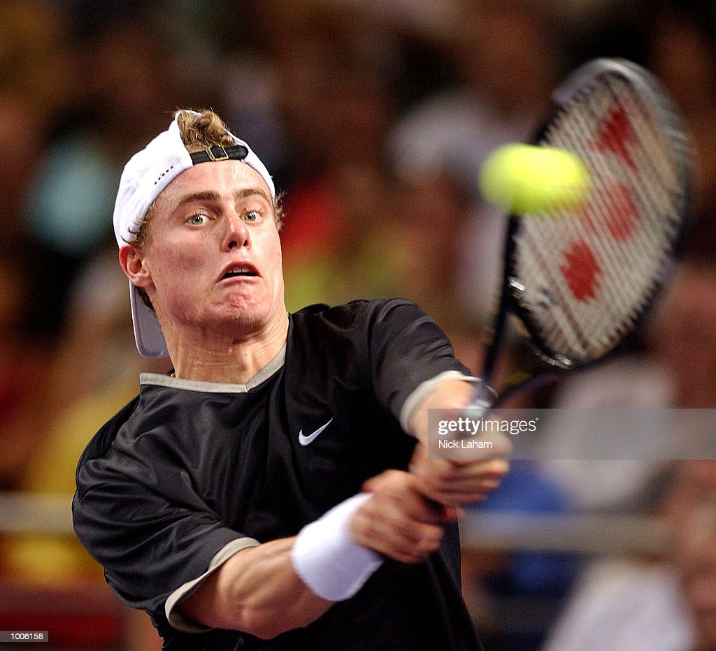 Lleyton Hewitt of Australia in action during his match against Juan Carlos Ferrero of Spain during the second semi final at the Tennis Masters Cup held at the Sydney Superdome, Sydney, Australia. DIGITAL IMAGE Mandatory Credit: Nick Laham/ALLSPORT