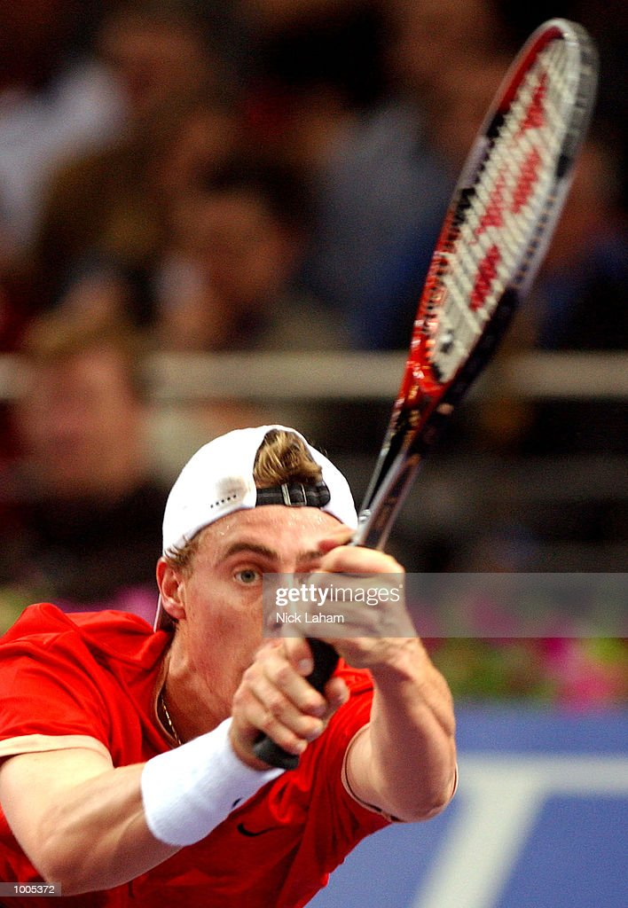 Lleyton Hewitt of Australia in action during his match against Sebastien Grosjean of France during the Tennis Masters Cup held at the Sydney Superdome, Sydney, Australia. DIGITAL IMAGE Mandatory Credit: Nick Laham/ALLSPORT