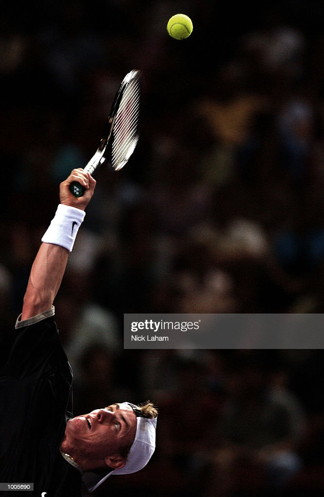 Lleyton Hewitt of Australia in action in his match against Andre Agassi of the United States during the Tennis Masters Cup held at the Sydney Superdome, Sydney, Australia. DIGITAL IMAGE Mandatory Credit: Nick Laham/ALLSPORT
