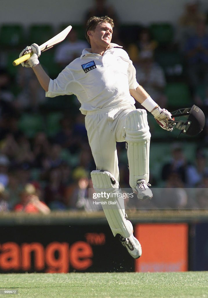 Lou Vincent of New Zealand celebrates his century during day one of the Third Test between Australia and New Zealand played at The WACA, Perth, Australia. DIGITAL IMAGE. Mandatory Credit: Hamish Blair/ALLSPORT