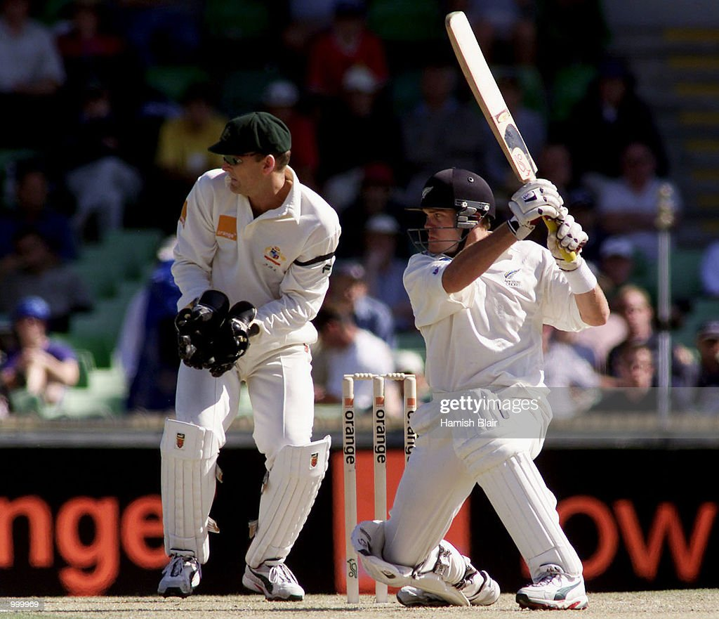 Lou Vincent of New Zealand hits out during day one of the Third Test between Australia and New Zealand played at The WACA, Perth, Australia. DIGITAL IMAGE. Mandatory Credit: Hamish Blair/ALLSPORT