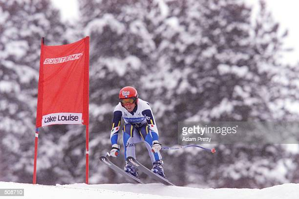 Lucia Recchia of Italy during the Womens Downhill of the 2001 Ski World Cup at Lake Louise Canada DIGITAL IMAGE Mandatory Credit Adam Pretty/Allsport