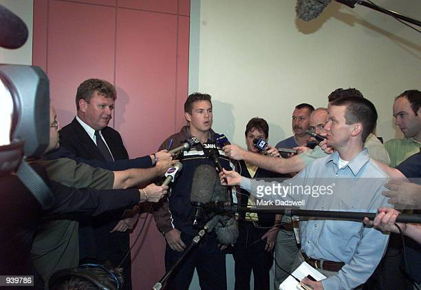 Luke Hodge addresses the media after being taken No1 by Hawthorn in the 2001 AFL National Draft today held at Melbourne Park Melbourne Australia...
