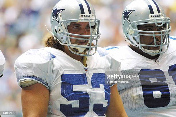 Mark Stepnoski and teammate Kelvin Garmon of the Dallas Cowboys look on during the game against the Philadelphia Eagles at Texas Stadium in Irving TX...