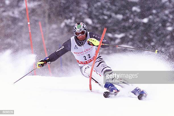 Markus Eberle of Germany during the 2nd Mens Slalom at the 2001 Ski World Cup in Aspen Colorado DIGITAL IMAGE Mandatory Credit Adam Pretty/Allsport